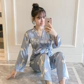 睡衣 冰絲和服睡衣女長袖韓版清新可愛真絲兩件套裝  瑪奇哈朵