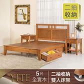 IHouse 伊特 簡約風全二抽收納實木床架-雙人5尺