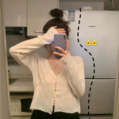 罩衫 很仙的防曬衫女夏季薄款長袖V領針織開衫鏤空花邊室內外搭空調衫