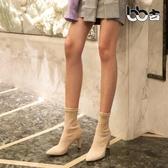BB古尖頭馬丁靴女2019秋冬粗跟瘦瘦百搭短靴子韓版高跟鞋彈襪靴女 錢夫人