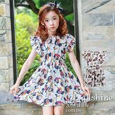 女童洋裝 滿版花朵高腰荷葉飛袖連身裙 韓國外貿中大童 QB allshine
