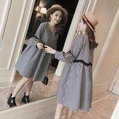 孕婦秋裝洋裝時尚款女格子長袖中長款上衣秋季 青山市集