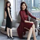 ~*艾美天后*~2017秋裝修身顯瘦氣質長袖新款女裝連衣裙兩件套時尚套裝