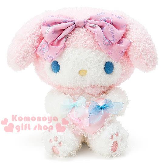 〔小禮堂〕美樂蒂 造型絨毛玩偶娃娃《M.粉.坐姿.抱愛心》可當居家擺飾 4901610-84479