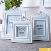歐式6寸7寸白色相框擺臺  做舊鏤空木質畫框 雕花長方形個性相架gogo購