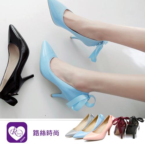 韓系經典百搭素面蝴蝶結綁帶尖頭短跟鞋/5色/35-43碼 (RX1247-T9-1) iRurus 路絲時尚