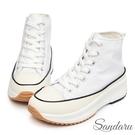 厚底鞋 經典增高休閒高筒帆布鞋-白