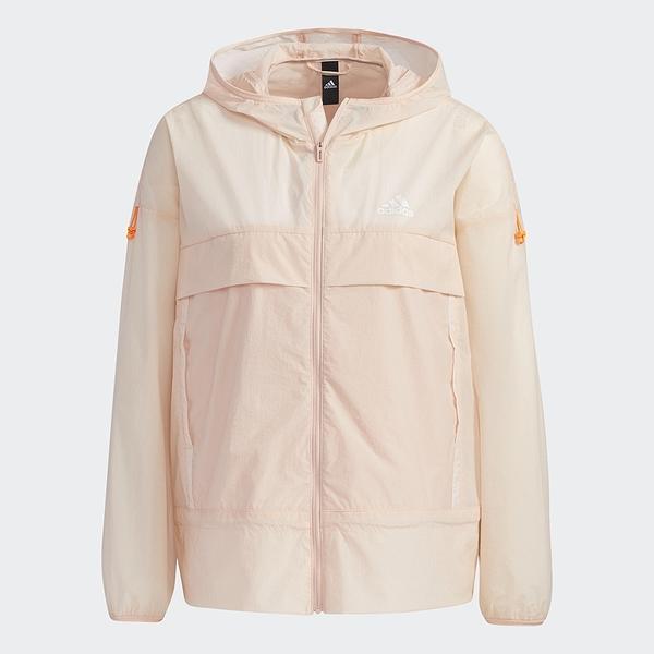 Adidas TECH 女裝 外套 連帽 風衣 科技感 防曬 輕薄 口袋 粉【運動世界】GP0672