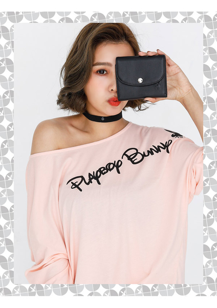PLAYBOY- 短夾 Punky playgirl系列-個性黑