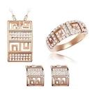 玫瑰金純銀飾品組合含項鍊+戒指+耳環-長方形精緻母親節生日禮物女配件73bi16【時尚巴黎】