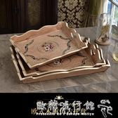 托盤  歐式創意木質蛋糕托盤家用水果盤ktv美容院長方形托盤木盤收納盤  『歐韓流行館』