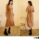 《DA8159-》純色含棉寬鬆收腰綁帶長袖洋裝 OB嚴選