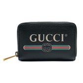 【台中米蘭站】全新品 GUCCI 復古綠紅綠標誌牛皮拉鍊卡夾/零錢包(496319-黑)