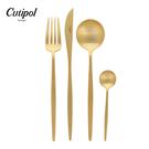 葡萄牙 Cutipol MOON系列個人餐具4件組-主餐刀+叉+匙+咖啡匙 (霧金)