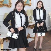 (現貨+預購 MASHUMAROU)-加大尺碼翻領黑白撞色長袖洋裝小禮服-上班宴會婚禮好幫手