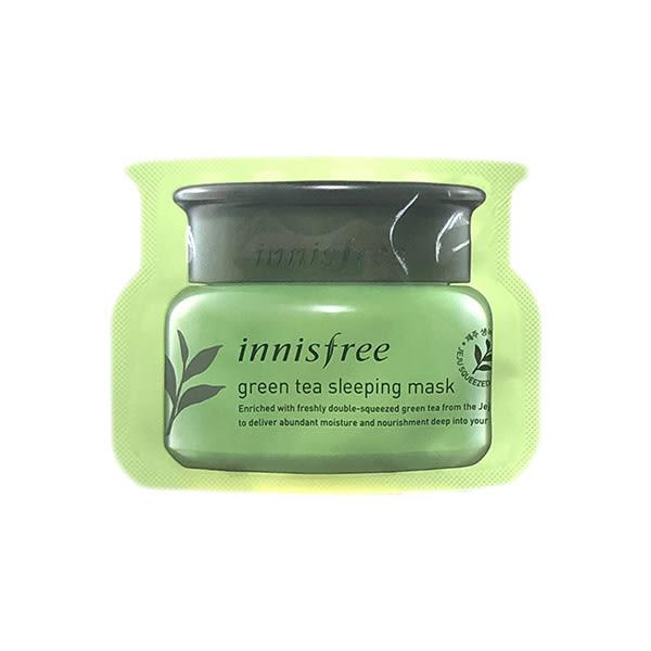 韓國 Innisfree 綠茶清爽保濕晚安面膜(4ml)【小三美日】