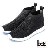 ★新品上市★bac  時尚休閒 飛織燙鑽厚底休閒鞋-黑