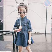 全館83折童裝女童長袖牛仔連身裙2019春秋裝新款兒童女孩修身牛仔公主裙
