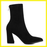 短靴女秋冬粗跟彈力靴女靴高跟尖頭中筒靴英倫風馬丁靴子