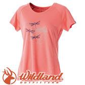 【Wildland 荒野 女款 印花咖啡紗抗菌抗UV上衣《粉橘》】 0A51611/短袖排汗衣/排汗衣★滿額送