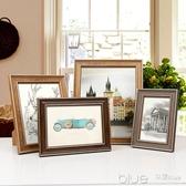 擺台相框美式典雅系列8寸7寸6寸方形5寸A4掛墻創意畫框兒童證書框  YYJ深藏blue