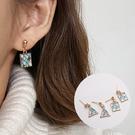 藍色幾何馬賽克耳環 耳針 JET349822