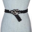 女士腰帶個性韓版手工珠子花瓣皮帶鬆緊彈力配連身裙洋裝腰鏈潮 8號店