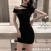 性感露肩洋裝2020夏裝新款氣質斜領顯瘦短袖黑色緊身包臀短裙子 聖誕節免運