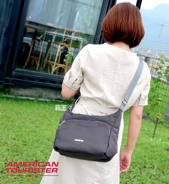 AT美國旅行者 側背包 斜背包 輕量多夾層斜背包 American tourister DI5*09002 (黑/灰)
