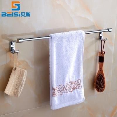 小熊居家毛巾架不銹鋼毛巾掛單桿衛生間浴巾架帶掛鉤廁所毛巾桿 浴室掛件特價