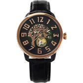 Tendence 天勢 樹上的鈴鐺小鏤空機械手錶-珍珠貝x黑/48mm TY492001