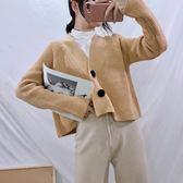 正韓氣質寬鬆百搭短款兩粒扣開衫毛衣外套女V領長袖針織衫上衣潮