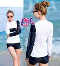 ★草魚妹★C182長袖黑白二件式泳衣游泳衣泳裝比基尼,售價800元