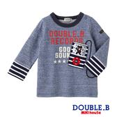 DOUBLE_B  日本製 黑熊字母拼接長袖T恤(藏藍)