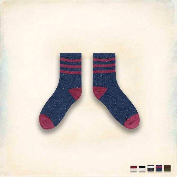 Melek 襪子類 (共5色)【P08161227-0141~45】女中統襪三條彩點款 韓國棉襪/舒適棉襪
