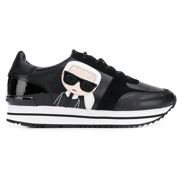 Karl Lagerfeld 卡爾 老佛爺 鞋 VELOCITOR II Q版麂皮透氣綁帶休閒鞋-黑