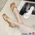 熱賣高跟拖鞋 網紅涼拖鞋女外穿2021夏季新款時尚百搭仙女風夾趾高跟細跟人字拖【618 狂歡】