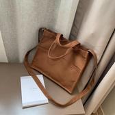 手提帆布包公事包側背斜背簡約大容量文件包書包【聚寶屋】