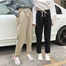 (全館一件免運)DE SHOP~(FS-1260)寬鬆顯瘦鬆緊腰繫帶哈倫褲九分褲直筒褲學生休閒褲