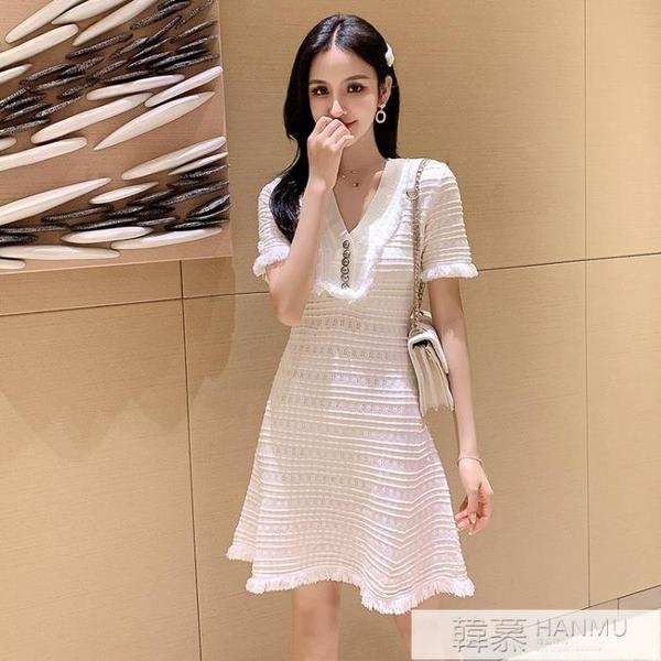 2020夏天新款性感洋裝女心機小個子修身顯瘦短袖氣質針織裙子潮  女神購物節