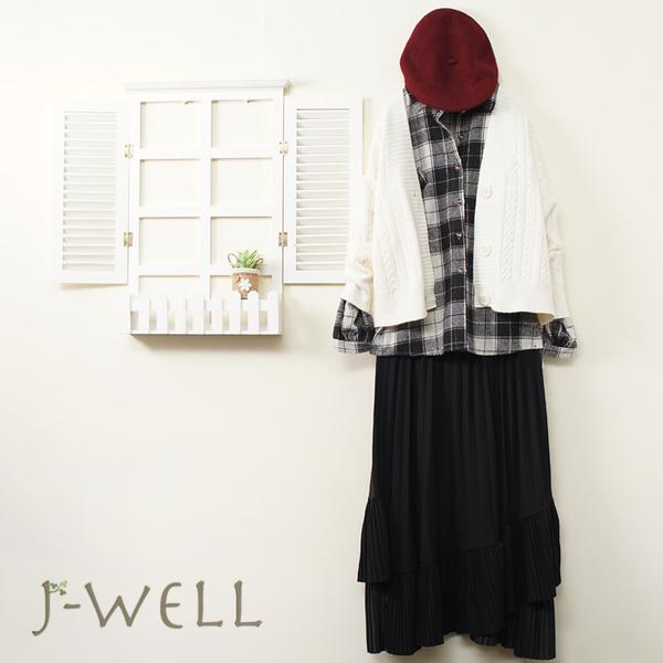 J-WELL 開襟毛衣厚款格紋襯衫下長裙三件組(組合A727 9J1127白+9J1022黑+9J1099黑)