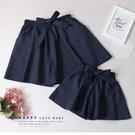 小童 純棉 綁帶雙口袋深藍短褲 春夏童裝 女童短褲 女童褲裙 女童寬褲 女童褲子