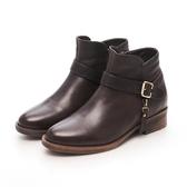 MICHELLE PARK 經典風範 皮帶拉鍊低跟短靴-深咖啡