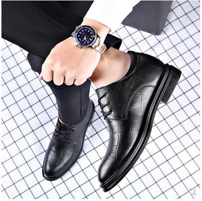 皮鞋男士夏季真皮韓版英倫黑色尖頭休閒鞋商務正裝內增高透氣男鞋 酷男精品館
