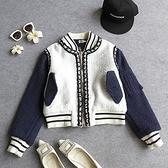 棒球外套-小香風拼接圓領拉鏈女短款夾克72aq26【巴黎精品】