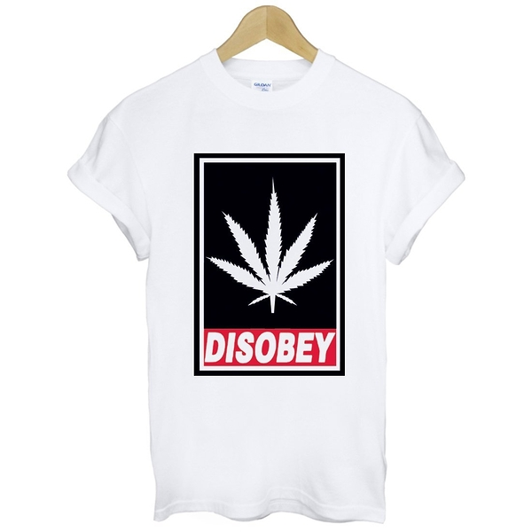 DISOBEY-WEED短袖T恤 2色 大麻葉潮流滑板街頭dope huf obey風格文字 gildan