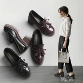 現貨-布洛克鞋粗跟單鞋女韓版百搭小清新高跟鞋少女英倫風小皮鞋學生潮9-14