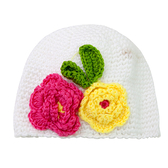 白色鉤花毛帽 毛線帽 絨毛帽 嬰兒帽 針織帽 帽子 保暖 童帽 女童 女寶寶 Augelute F1032