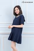 氣質洋裝--日系學院風氣質白緄邊水手領中厚感雪紡紗連身百褶裙(藍XL-5L)-D436眼圈熊中大尺碼◎