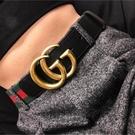 ■現貨在台■專櫃94折 ■ Gucci 全新真品 409416 GG Web 織帶及烏木色小牛皮腰帶 90 cm